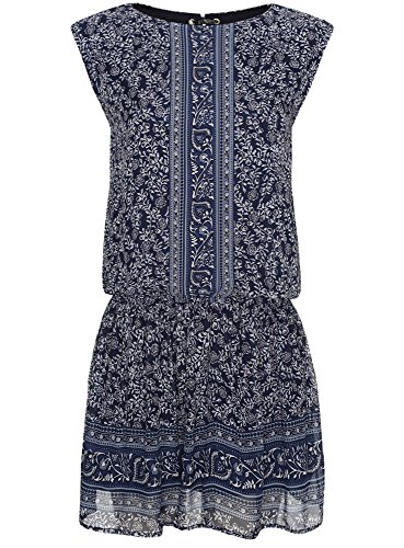 oodji Ultra Damen Druckkleid aus Chiffon Blau (7512F)