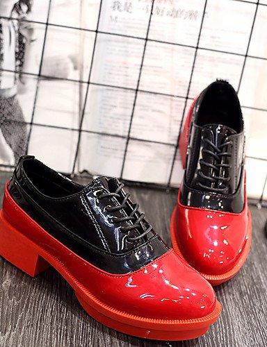 WSS 2016 Chaussures Femme-Habillé-Noir / Rouge-Talon Compensé-Compensées / A Plateau / Bout Arrondi-Talons-Similicuir black-us6 / eu36 / uk4 / cn36