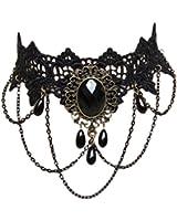Gothic Necklace Black Jewel Lace Choker Party Vintage Classic