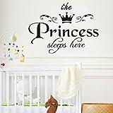 Mamum - Stickers Personnalisé Prénom Autocollants Muraux Mural Princesse Chambre Bébé Fille Enfants Garderie Décoration Art...