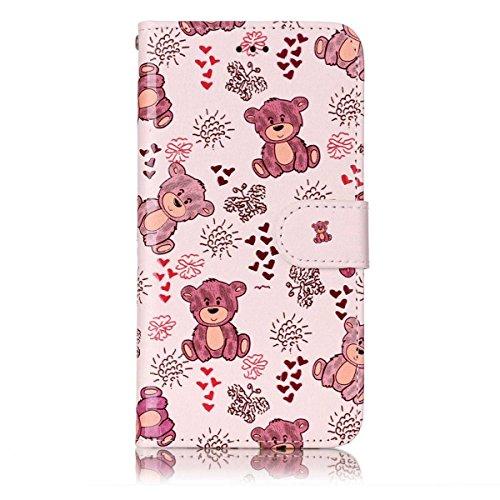 Gelusuk Samsung Galaxy Note 8 Leder Hülle,Note 8 Case,Retro Muster Design PU Leder Flip Cover Wallet mit Standfunktion Kartenfächer 2 in 1 Bookcase Tasche Etui Bumper HandyHülle-Bär