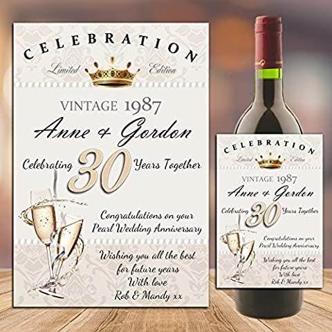 Personalised 30th Pearl Wedding Anniversary WINE CHAMPAGNE BOTTLE LABEL ~