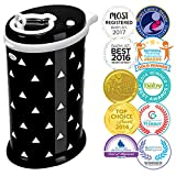 Ubbi Money Saving, Nappy Disposal Bin, No Special Bag Required, Steel Odor Locking Nappy Pail, Black Triangles