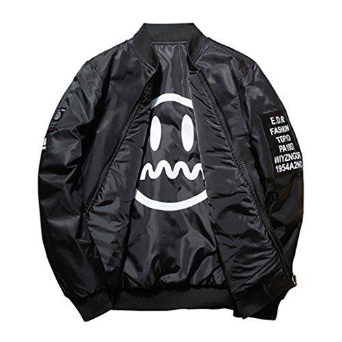 Leder Jacke Jungen Aviator (Bomber Jacke Mantel Männer Doppelseitige tragen Jacken Patch Designs jugendliche männliche Oberbekleidung Mäntel Jacke Frühjahr Schwarz 5XL)