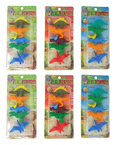 PARTEET Dinosaur Shape Erasers (Multicolour) - Pack of 6