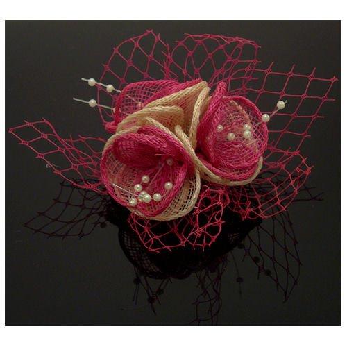 Acosta Rose Fuchsia &ivoire avec fleur en maille filet &Perles-Broche de Corsage/Barrette bibi Floral