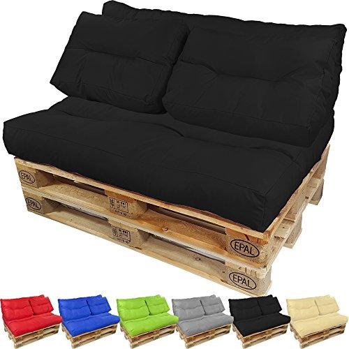 proheim Palettenkissen Lounge Sitzkissen Paletten-Auflage Polster für Europaletten viele Varianten und Farben wählbar, Farbe:Schwarz, Variante:Langes Rückenkissen