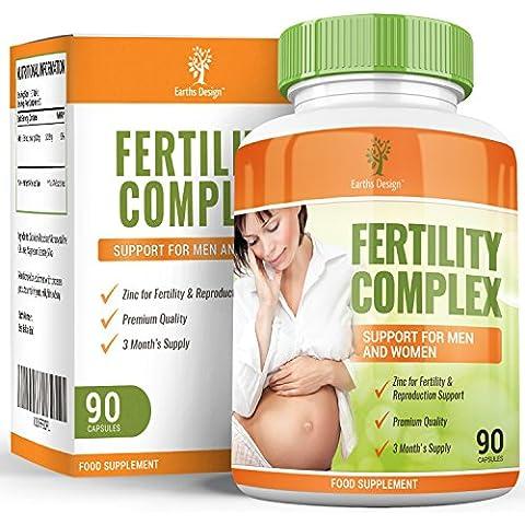 Pastillas de fertilidad para hombres y mujeres que intentan concebir. Suplemento de vitaminas para concepción y gestación. Ayuda natural a la reproducción con zinc, biotina y vitamina C, 90