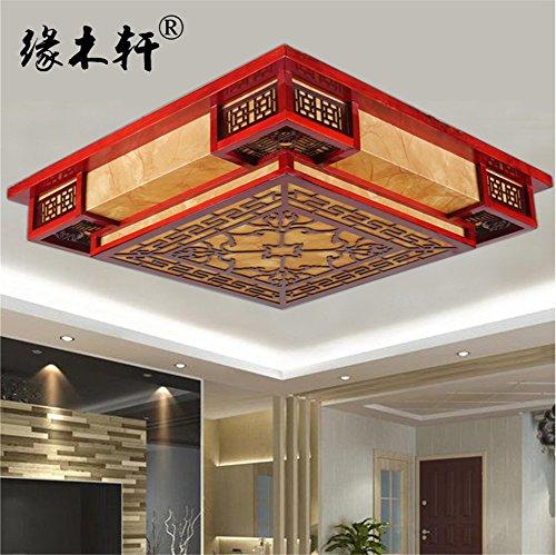 BRIGHTLLT Chinesische Decke lampen Wohnzimmer Licht square Schlafzimmer Massivholz Emulation klassischer LED-Leuchten, 450 * h 150 mm Pergament