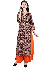 VOJO Cotton Printed V-Neck Straight 3/4th Sleeve Blue-Pink Women's Casual&Party Wear Kurti With Palazzo ( Pack...