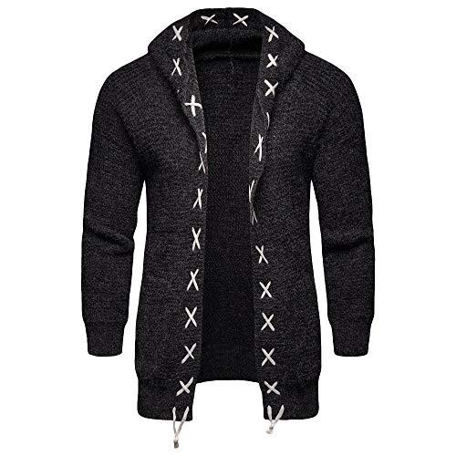 Xmiral Knit Cardigan Herren Jacke Mantel Pure Farbe mit Kapuze beiläufige Long Sleeve Outwear (XXL,Schwarz)