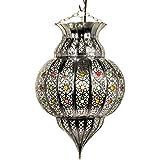 Orientalische Lampe Pendelleuchte Silber Jilan 42cm E27 Lampenfassung | Marokkanische Design Hängeleuchte Leuchte aus Marokko | Orient Lampen für Wohnzimmer, Küche oder Hängend über den Esstisch