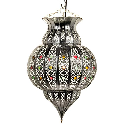 Orientalische Lampe Pendelleuchte Silber Jilan 42cm E27 Lampenfassung | Marokkanische Design Hängeleuchte Leuchte aus Marokko | Orient Lampen für Wohnzimmer, Küche oder Hängend über den Esstisch - 42 Runde Esstisch