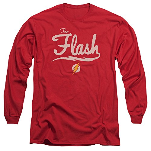Justice League Old School Flash L S Adult 18 1 Red - Rot - Klein (Adult Wunder Frau Kostüm)
