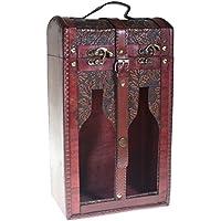 CHRISTIAN GAR Caja de Madera Decorada para 2 Botellas de Vino - con Ventanas - Caja