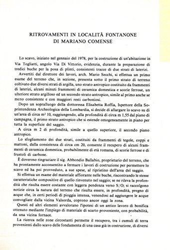 Ritrovamenti in localita' Fontanone di Mariano Comense.