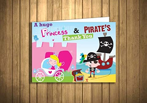 Children's Thank You Cards Princess & Pirate Party 20 Pack