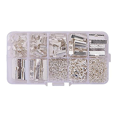 PandaHall Elite - Ensembles de Decouvertes de Bijoux, avec les Extremites de Ruban de Fer, Piece de Bout de Baisse d'Alliage, Fermoirs en Laiton de Griffe de Homard et Chaines d'Extension de Torsion de Fer, Argent, 8 ~ 25x8x5mm; 12x7x3mm; 7x2,5mm; 50 x 3,5 mm; Trou: 1 ~ 1.2mm, environ 500pcs / Boite