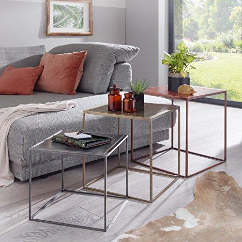 FineBuy 3er Set Design Beistelltisch MATTI Satztisch 3-teilig Sofatisch Metall | Design Industrie Couchtisch eckig Kupfer Messing Zink | Loft Wohnzimmertisch modern | Kleine Tische mit Metallgestell