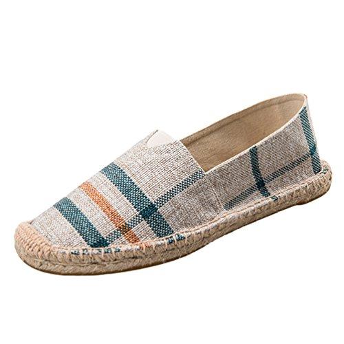 Dooxii unisex uomo donna durevole casuale loafers scarpe moda tinta unita espadrillas basse scarpe slip on flats 38(24cm)