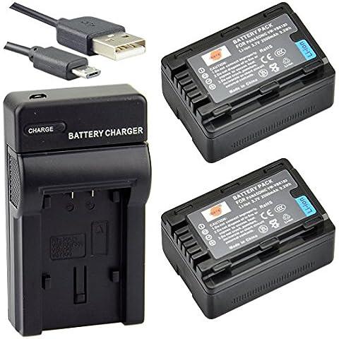 DSTE VW-VBK180 Li-ion Batteria (2-Pacco) e Caricabatterie USB per Panasonic HC-V10, HC-V100, HC-V100M, HC-V500, HC-V500M, HC-V700, HC-V700M, HDC-HS60, HDC-HS80, HDC-SD40, HDC-SD60, HDC-SD80, HDC-SD90