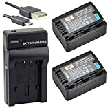 DSTE VW-VBK180 Li-Ionen Batterie (2-Pack) und Micro USB Ladegerät Anzug für Panasonic HC-V10, HC-V100, HC-V100M, HC-V500, HC-V500M, HC-V700, HC-V700M, HDC-HS60, HDC-HS80, HDC-SD40, HDC-SD60, HDC-SD80, HDC-SD90