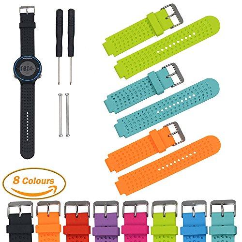 Garmin Forerunner Serie Smart Watch Ersatz Armbänd (3 Pack), iFeeker Luftloch Art weiche Silikon Bügel Ersatz Uhrenarmband mit Freiem Installation Swerkzeuge und Böckchen Adapter Gemeinsame Entwickelt für Garmin Forerunner 220/230/235/630/620/735XT Sport GPS-Laufuhr Zubehör Uhrenarmband (Limette + Teal + Orange)