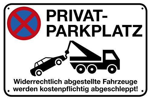 Privatparkplatz Alu-Schild inkl. 4 Lochbohrungen 30 x 20 cm Privatparkplatz - Widerrechtlich abgestellte Fahrzeuge werden kostenpflichtig abgeschleppt Alu-Hinweisschild 3mm stabile Verbundplatte