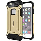 Cubix [Slim Armor] Slim Rugged Defender Shock Resistant Hybrid Heavy Duty Back Cover Case For Apple Iphone 6S (Gold)