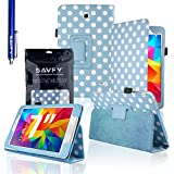 """SAVFY Samsung Galaxy Tab 4 7.0 7-inch PU Leather Case Cover and Flip Stand , Bonus: + Screen Protector + Stylus Pen + SAVFY Cleaning Cloth (for Galaxy Tab 4 7"""" INCH T230/T231/T235, WiFi or 3G+WiFi) (Polka Dots SKY BLUE)"""