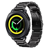 SUNDAREE Kompatibel mit Gear Sport Armband,20MM Edelstahl Metall Armband Schwarz Ersatz Watch Strap Uhrenarmband für Samsung Gear Sport SM-R600/Garmin vivoactive 3/Withings HR 40mm(Sport Black)