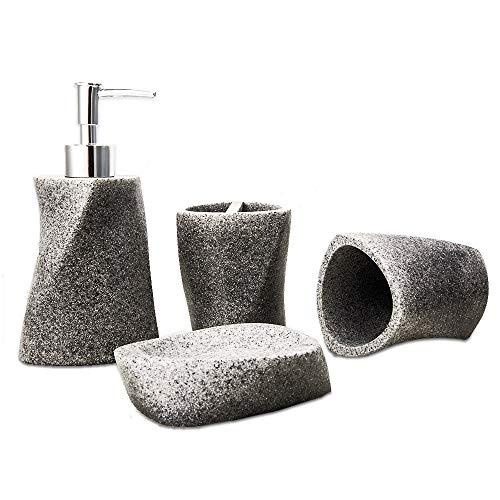 Bigger Decor Advanced Kunstharz einfaches modernes Badezimmerzubehör-Set, matte Textur, komplettes Set, bestehend aus 1 Becher, 1 Zahnbürstenhalter, 1 Seifenschale und 1 Seifenspender Grey(streamline)
