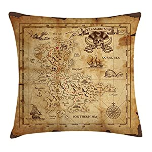 Ambesonne – Funda de cojín decorativa con diseño de mapa de la isla, diseño rústico con mapa del tesoro, temática del mar secreto dorado, decoración cuadrada, 40 x 40 cm, color beige y marrón