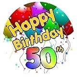 Happy 50. Geburtstags Kuchen Aufsatz Zucker Glasur