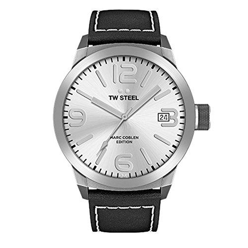TW Steel Herren Analog Quarz Uhr mit Leder Armband TWMC24