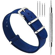 CIVO Correa de Reloj Nato Balística Premium Nylon Correas de Reloj Hebilla de Acero Inoxidable con la Herramienta Superior de Barra de Resorte y 4 Barras de Resorte de Bonificación Bandas 18mm 20mm 22mm (Navy Blue, 22mm)
