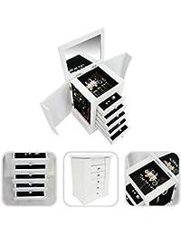 Todeco - Caja para Joyas con Compartimentos, Mueble para Joyas con Cajones - Material:
