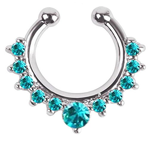 1 Piece Clip on Jewelry Creative Fake Septum Clicker Nose Rings (Silver with Blue Gem)