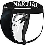 MARTIAL Tiefschutz mit 2 Cup-Größen für perfekten Sitz! Genital-Schutz mit hoher Bewegungsfreiheit ideal für Kampfsport! Leisten-Schutz mit bester Passform und elastischem Hüftband inkl. Tragebeutel! (M, Schwarz)