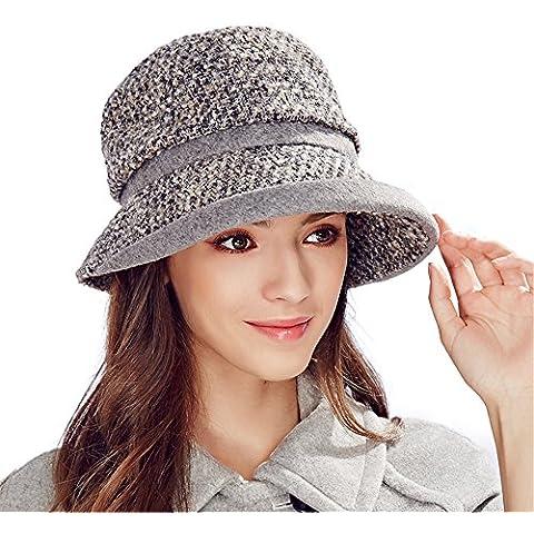 Kenmont 2015 nueva señora de otoño invierno de las mujeres del sombrero del cubo de lana Gorro con visera