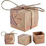 Fgf wedding Candy scatole set di 50DIY vintage Kraft Bonbonniere romantico cuore amore Candy Gift Box con iuta