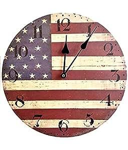 HORLOGE MURALE AMÉRIQUE EUA/USA DRAPEAU BANNIÈRE ÉTOILÉE NOSTALGIE CUISINE - Tinas Collection