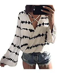 Camisas Mujer,❤ Modaworld Moda Blusa Casual de Gasa de Manga Larga con Estampado para Mujer Blusas Elegantes…