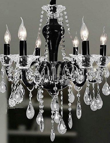 SSBY 6-luce lampadario di cristallo con l'accento design nero , (Bronzo Rame Accenti)