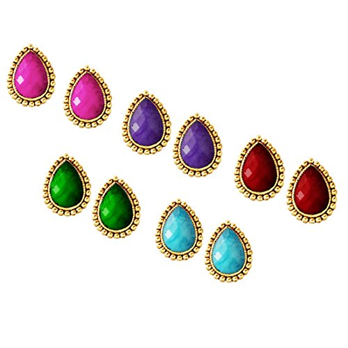Beingwomen Fashion Jewellery Tear Drop Design Stone Studded Different Color Combo set earring - Pack Of 5  available at amazon for Rs.75