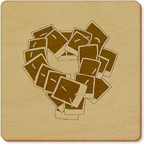 Azeeda 6 x 'Polaroid Herz' Quadratisch Hölzerne Untersetzer (CR00030866)