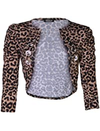 (womens 3/4 sleeve leopard ruched button shrug)(mtc) femmes Manches 3/4 léopard bouton haussement