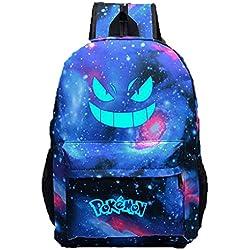 Unisex Pokemon Go Gengar luminoso cara mochila Blue Galaxy