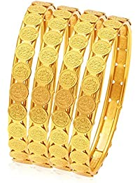 Fashion's Glamorous Temple Jewellery Gold Plated Coin Bangle For Women( 2.8)