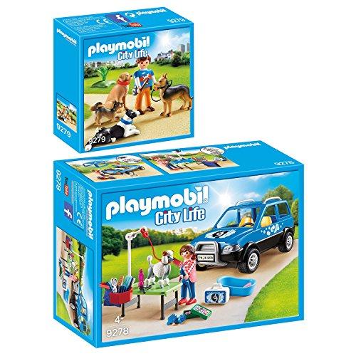 PLAYMOBIL® City Life 2er Set 9278 9279 Mobiler Hundesalon + Hundetrainer (Hundesalon)